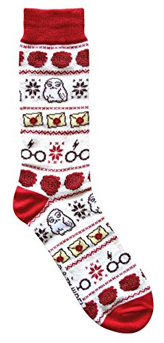 Harry Potter Hedwig Letter Glasses Ugly Sweater Pattern Crew Christmas Socks