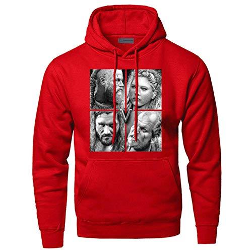 YOUE Odin Vikings Hoodies Men Sweatshirts Scandinavian Valhalla Hooded Winter Autumn Ragnar Lothbrok Lagertha Athelstan Sportswear-red 6,M