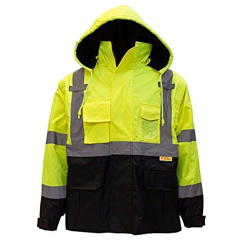 New York Hi-Viz Workwear J8512-XL Men's Ansi Class 3 High Visibility Safety Bomber Jacket With Zipper, PVC Pocket, Black Bottom and Detachable sleeve (Extra Large, Lime)