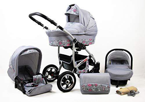 Kinderwagen Largo,3 in 1 -Set Wanne Buggy Babyschale Autositz mit Zubehör Pink Owl