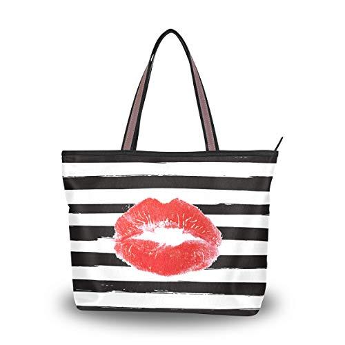 Bolsos Monedero Compras Labios rojos sexy Beso Moda Negro Blanco Raya Correa ligera para mujeres Niñas Damas Bolso de mano Bolso de hombro dulce