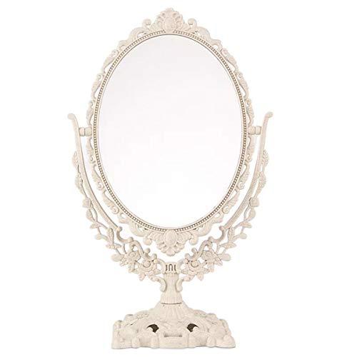 Garneck Espejo de mesa vintage ovalado con rotación de 360 grados, espejo de doble cara decorativo