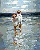 LUOJIE para Adultos y niños DIY Pintura al óleo Pintura por números Kits ypinceles Set Acrílicos Kits delhogar Kits de Pintura sobre Lienzo Principiante Hermano y Hermana en la Playa-Sin Marco