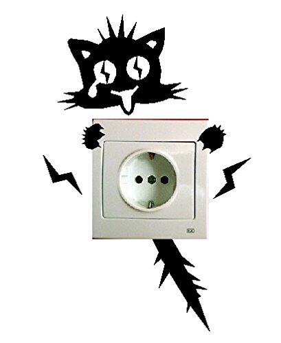 Pegatina vinilo pared interruptor enchufe, gato electrocutado, ref:k228
