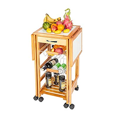 Henf Portable Rolling Drop Leaf Kitchen Storage Trolley Cart Island White Tile Top Folding Trolley Table with 1 Wood Drawer & 2 Steel Baskets Sapele Color from Henf