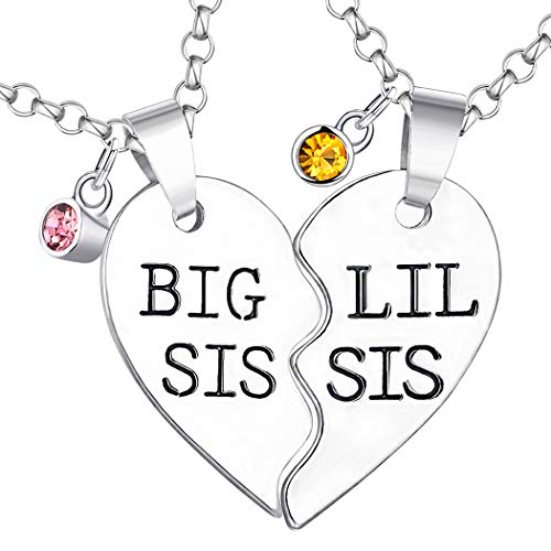 Starchenie BFF Sister Necklaces for 2 Big Sis Little Sis,Fashion Rhinestone Crystal Friendship Best Friend Necklaces