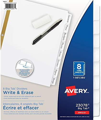 Avery 8-Tab Binder Dividers, Write & Erase White Big Tabs, 1 Set (23078)
