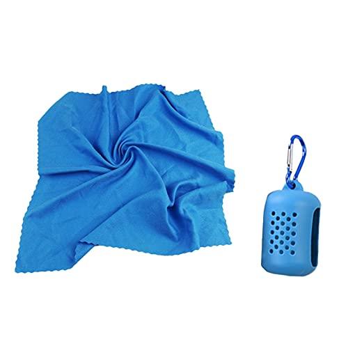 Hengzi Toalla de hielo frío instantáneo para camping, secado rápido, toalla de gimnasio, bandana para el cuello, para correr, golf, senderismo con bolsa de almacenamiento de silicona (azul)