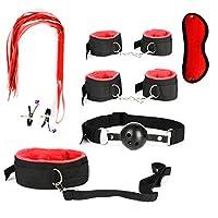7 PCSレザースーツは特別にバインドされており、カップルの大人のおもちゃに適した赤と黒のソフトベルベットスーツS/Mスーツがあります red