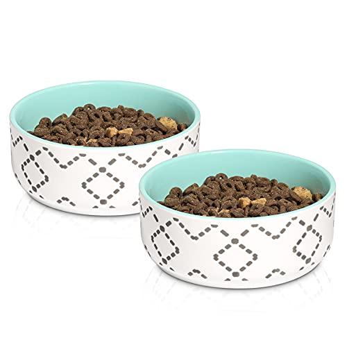 ComSaf Keramik Katzennapf, rutschfest Futternapf und Wassernapf, Trinknapf für Hunde und Katzen, Futternapf Katze 2er-Set