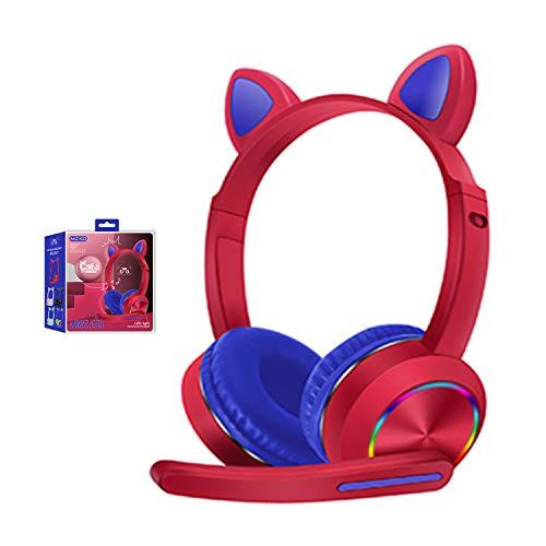 Katzenohren LED-Leucht-Bluetooth-Headset mit Mikrofon, Geräuschunterdrückung, kabellose Kopfhörer, Freisprecheinrichtung für Kinder, Jungen und Mädchen, flammenrot