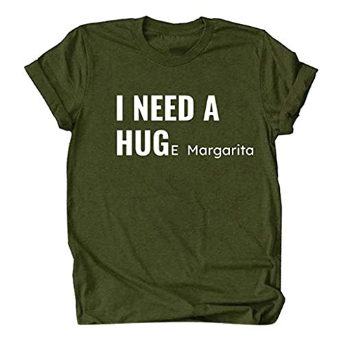 Meikosks T Shirt Womens I Need A Huge Letters Printing Blouse Casual Short Sleeve Top Basic Pullover Army Green