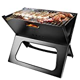 TeqHome Foldable Charcoal Grill, Portable BBQ Barbecue Grill Lightweight Simple Grill for Outdoor...