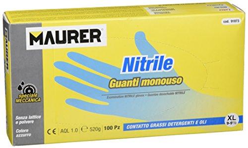 Maurer 15030636 - Guante desechable nitrilo, talla 9 XL, caja 100 unidades