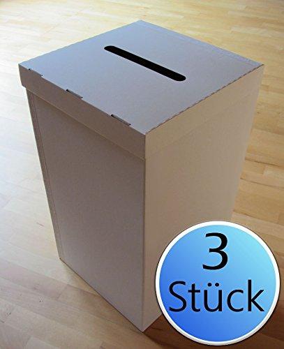 3er-Pack: Wahlurne aus Karton/Pappe Groß + 30 Plomben
