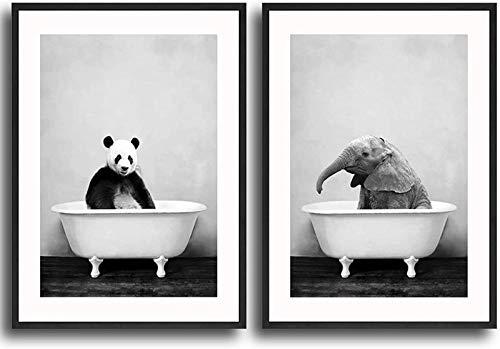 QWEWQE Leinwand Bilder, Elefant Panda in der Badewanne Poster, Minimalistische Tier Leinwandbild, Moderne wandkunst für dekoration badezimmer (Kein Rahmen,30 * 40cm x2)