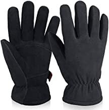 Mens Womens Winter Gloves for Cold Weather Waterproof Wind Resistant Deerskin Leather Insulated Work Glove for Driving Cycling Hiking (Black)