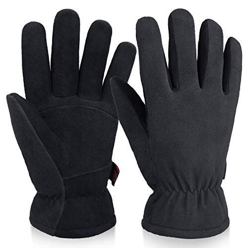 OZERO Winter Work Gloves -20°F Cold Proof Thermal Glove - Deerskin Suede Leather Palm and Polar Fleece Back with Warm Insulated Cotton Lining for Men Women Yard Work, Shoveling, Driving, Cycling