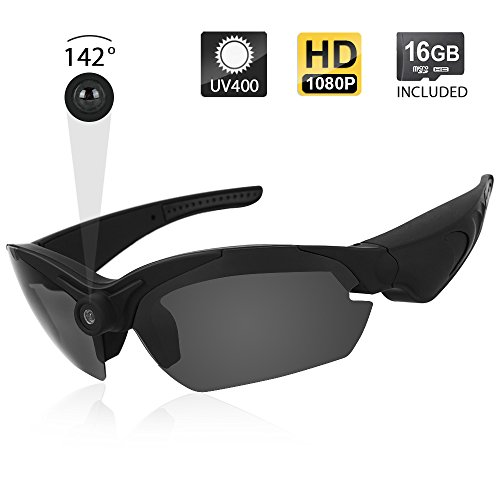 Toughsty 1080P HD Eyewear Action Camera Sunglasses Video Recorder with 142 Degree Wide View Angle and Photo Taking Function 16GB Memory Card Included
