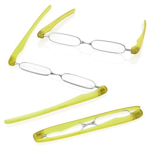PODREADER Gafas para leer y funda, plegable, ahorra espacio, de + 1,00hasta + 3dioptrías, silber / hellgrün, +1,00 Dioptrien