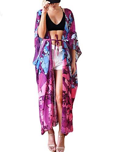 FOCUSNORM Saída de praia feminina de chiffon, modelo quimono, Www00, tamanho �nico