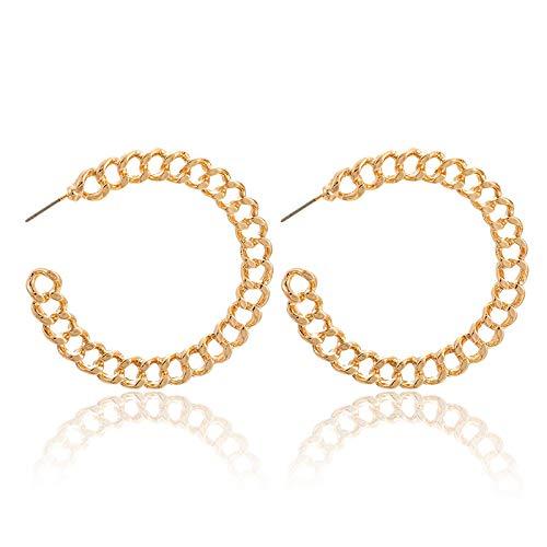 FEARRIN Earrings Trendy Unusual Metal Gold Hoop Earrings for Women Round Circle Geometric Drop Earrings Stainless Steel Femme Jewelry 9193