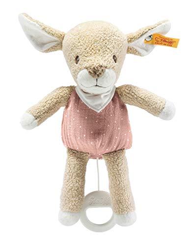 Steiff 242441 GOTS Raja - Peluche musical para bebé, 22 cm, color beige/rosa (242441), 96 g