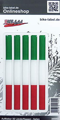 BIKE-label 300002N Aufkleber 3D Länder-Flaggen Italien Italy 5 Stck je 120 x 10mm