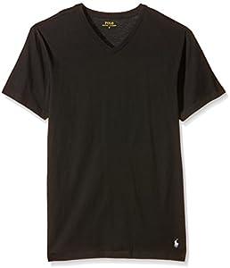 Ralph Lauren - Camiseta para hombre v neck, Negro (2Pk Polo Black/Polo Black), Medium