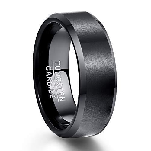 NUNCAD 8mm Ring Schwarz Herren Damen Partner aus Wolfram Gebürstet für Hochzeit Valentinstag Geburtstag Partnerschaft