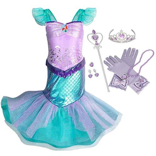 IWFREE Vestido Disfraz de Sirena Traje para Niña, Disfraz Ariel Princesa Infantil de Princesa Brillante Larga Manga con Cola de Cosplay Fiesta Halloween Chicas