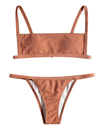 ZAFUL Women's Ribbed Hook String Bikini Set Square Collar High Cut 2 Piece Open Back Swimwear(Orange Salmon,M)