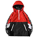Hzcx Fashion Mens Pullover Hooded Waterproof Lightweight Windbreaker Jackets(RED,M)