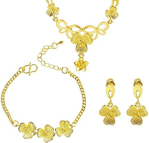 banbeitaotao Elegante joyería de Oro Conjuntos de joyería Nupcial Joyería de Boda Hoja de Oro Amarillo Pulseras Collares Pendientes para Mujeres