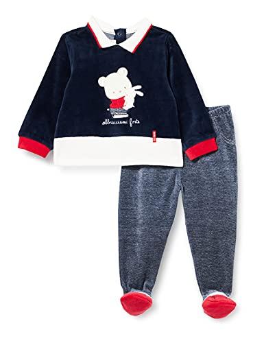 Chicco Completino Maglietta e Pantaloni in ciniglia Juego de Pijama, BLU E Rosso, 68 cm para Bebés