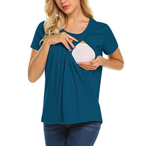 Double Couche Allaitement T-Shirt,Yesmile Vêtements Grossesse Et Maternité Mode Comfort Grossesse Tops (M, bleu)