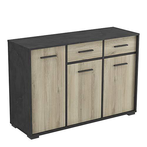 Mueble Aparador Diana Estilo Industrial Color Kronberg Y Sidewalk 3 Puertas 2 Cajones 79x116x40 Cm