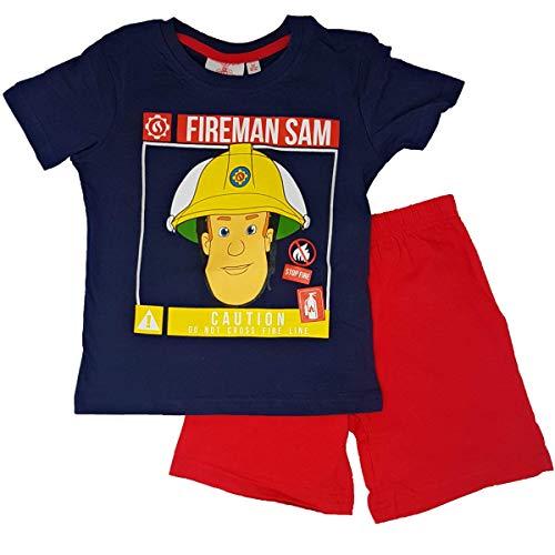 Feuerwerhmann Sam Schlafanzug Pyjama (Blau, 110)