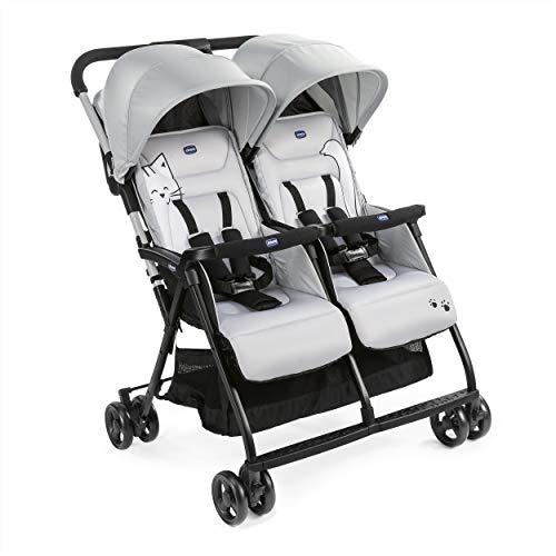 Chicco OHlalà Twin Geschwisterwagen von Geburt bis 15 kg, Kinderwagen für Zwillinge und Geschwister, Verstellbarer Faltbarer Zwillingsbuggy, Regenschutz und Ausziehbares Verdeck