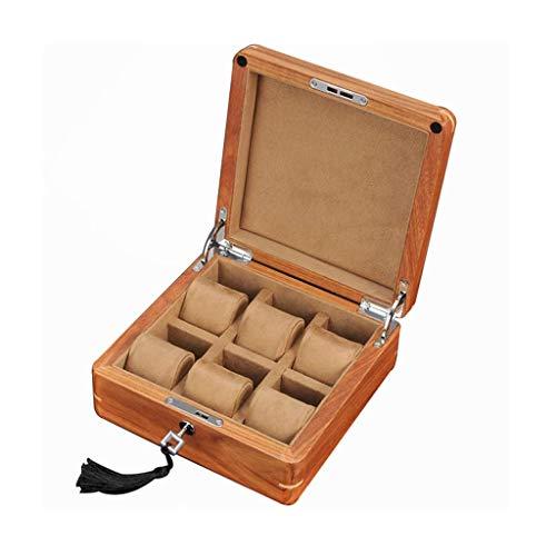 NHLBD HAILIZI Uhrensammelbox Palisander Watch Box 6 Raster mit Hardware Lock-Large-Uhr-mechanische Uhr Lagerung Sammelbox Lagerung 55mm Dial Hellbraun/Dunkelbraun Futter (Color : Light Brown Lining)