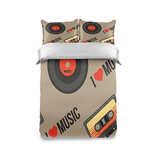 Pac Mac I Love Music CD and Magnetic Tape Duvet Cover Set Kids Bedding Set Comforter Cover Set Twin Size (100% Peach Skin Velet on The Front + 100% Cotton on The Back)