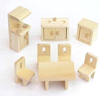 lakshya wooden lounge bathroom kitchen dollhouse furniture set (wooden textured)- Multi color