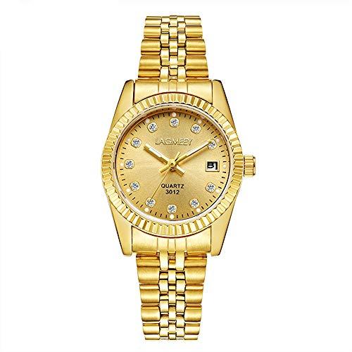 Relojes Dorado Cristal para Mujer Relojes Calendario Acero Inoxidable Elegante Item Name (aka Title)