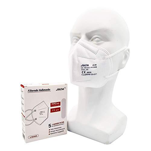 10x FFP2 Schutzmaske - 5 Lagig - CE0370 - Dermatest: SEHR GUT von Tradeforth GmbH (Weiß)