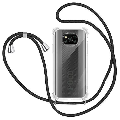 Handykette kompatibel mit Xiaomi Poco X3 NFC Hülle, Xiaomi Poco X3 Pro Handyhülle mit Band Transparent Schutzhülle Stossfest - Schnur mit Hülle zum Umhängen in Schwarz