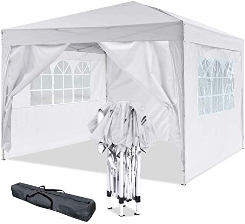 Oppikle 3x3m /3x6m Garden Gazebo Marquee Tent with Side Panels, Windproof and Waterproof, Powder Coated Steel Frame for Outdoor Wedding Garden Party