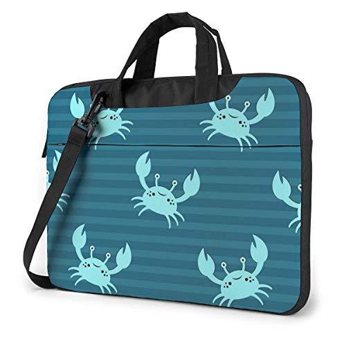 Rayas con Blue Crab Bolsa para computadora portátil Maletín a Prueba de Golpes Bolso de Transporte para Tableta para Viajes de Negocios Oficina de 15.6 Pulgadas