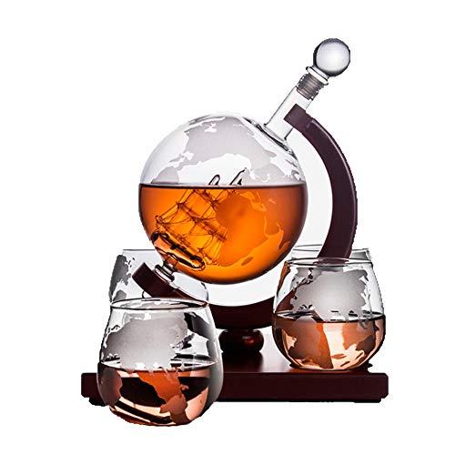 Whisky World Decanter Grabado, Con 4 Vasos De Whisky Globe Grabados, Decantador De Whisky De Cristal Sin Plomo Con 2 Vasos De Vidrio, Caja De Regalo Con Estilo Único