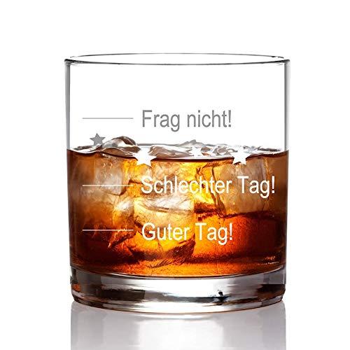 """FORYOU24 Whiskeyglas mit """"guter Tag, schlechter Tag"""" Gravur Geburtstag Geschenkidee Whisky-Glas graviert mit Untersetzer"""