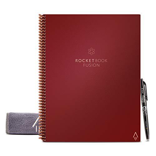 Rocketbook Fusion Wiederverwendbares Notizbuch - Scarlet Rot, Letter A4, 7 Seitenvorlagen mit Kalender, To-Do Liste, Punktraster und Linierte Seiten, Inklusive FriXion Stift und Mikrofasertuch